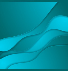 bright blue material papercut waves abstract vector image
