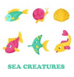 bright set with sea fishes vector image