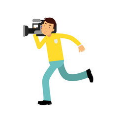 Cameraman character running with a professional vector