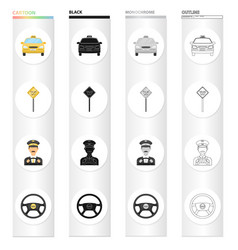 car taxi post and other web icon in cartoon vector image