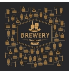 Card template with beer brewery element vector