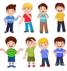 cartoon kids with different expresion vector image