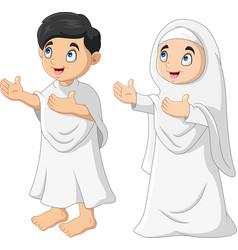 Cartoon muslim kids a pray vector
