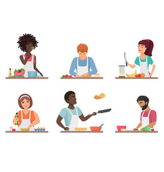 cartoon people cooking set isolated vector image