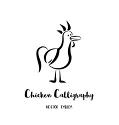 chicken calligraphy emblem vector image