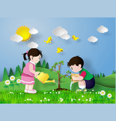 Child pouring water on the tree vector