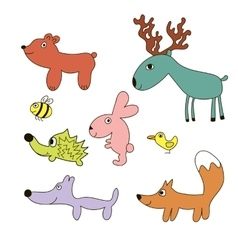 Childish cartoon forest wild animals vector image