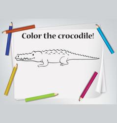 Children crocodile coloring worksheet vector