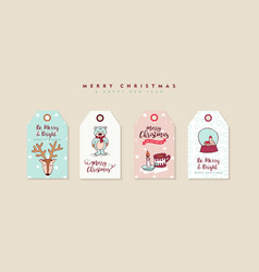 christmas and new year cute cartoon label set vector image vector image