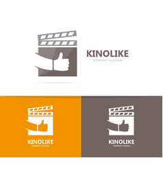 clapperboard and like logo combination vector image