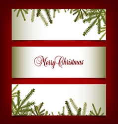 Classic Christmas banners with pine needles vector