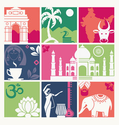 colored squares with symbols india vector image