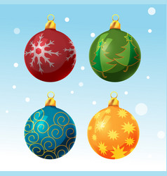 Colorful christmas ball set isolated vector