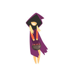 cute little witch character standing with a basket vector image