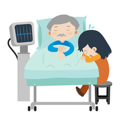 Dead man on hospital bed and girl crying vector