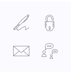 Dialog mail envelope and open lock icons vector image
