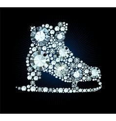 Diamond Ice Skates Sign vector image