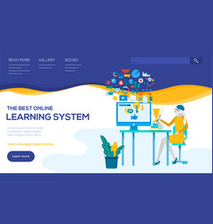 Distance learning system landing page vector