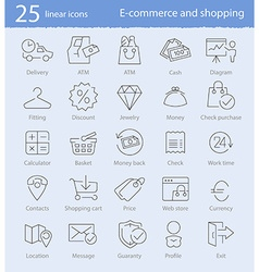 E-commerce shopping and web store thin line icons vector image