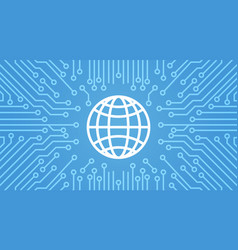 earth globe icon over computer chip moterboard vector image