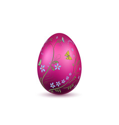 easter egg 3d icon pink shine egg isolated white vector image