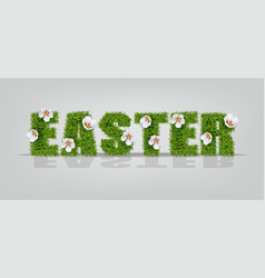 Easter green grass sign realistic vector
