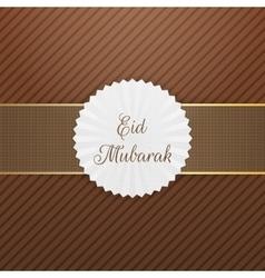 Eid mubarak realistic emblem with ribbon vector