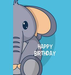 Elephant cute birthday card vector