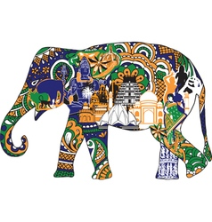 Elephant with Indian symbols vector