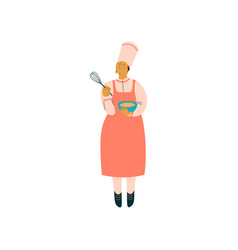 female cook cooking in restaurant kitchen vector image