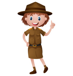 Female park ranger in brown uniform vector