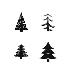 fir tree icon set simple style vector image