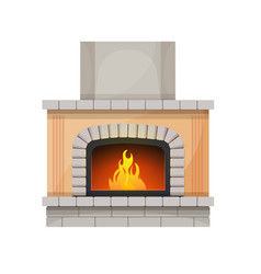 Fireplace or hearth fire in home interior decor vector