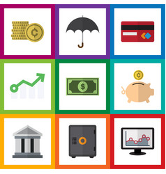 Flat icon gain set of payment growth parasol and vector