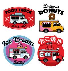 Food truck badge mascot vector
