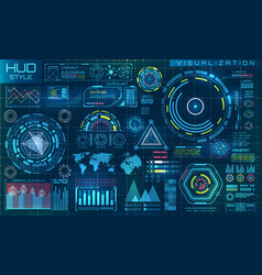 futuristic interface hud style and infographic vector image