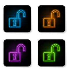 glowing neon open padlock icon isolated on white vector image