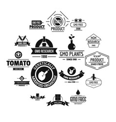 Gmo food logo icons set simple style vector