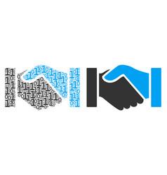 Handshake mosaic of binary digits vector