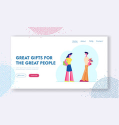 Happy loving couple prepare gifts to each other vector
