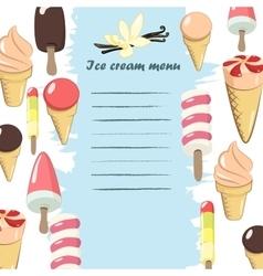 Ice cream menu vector image