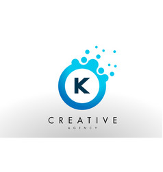 K letter logo blue dots bubble design vector