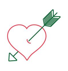 line arrow inside romantic heart design vector image