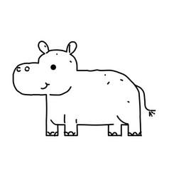 Line drawing cute hippo cartoon hand drawn vector
