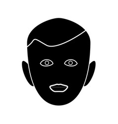 little boy face black color icon vector image