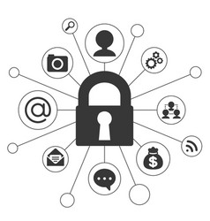 lock and icon about security concept vector image