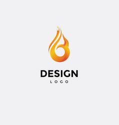 Logo design colorful fire icon initials b vector