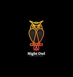 Logo night owl gradient line art style vector