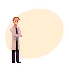 Male man doctor in medical coat standing with vector