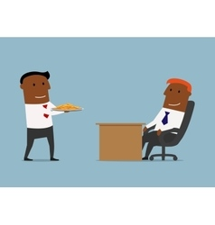 Manager brings gold coins to his boss vector image